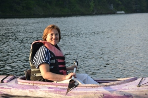 Author in kayak