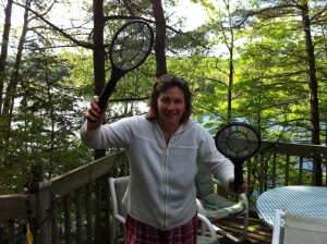 Lady with bug zapper