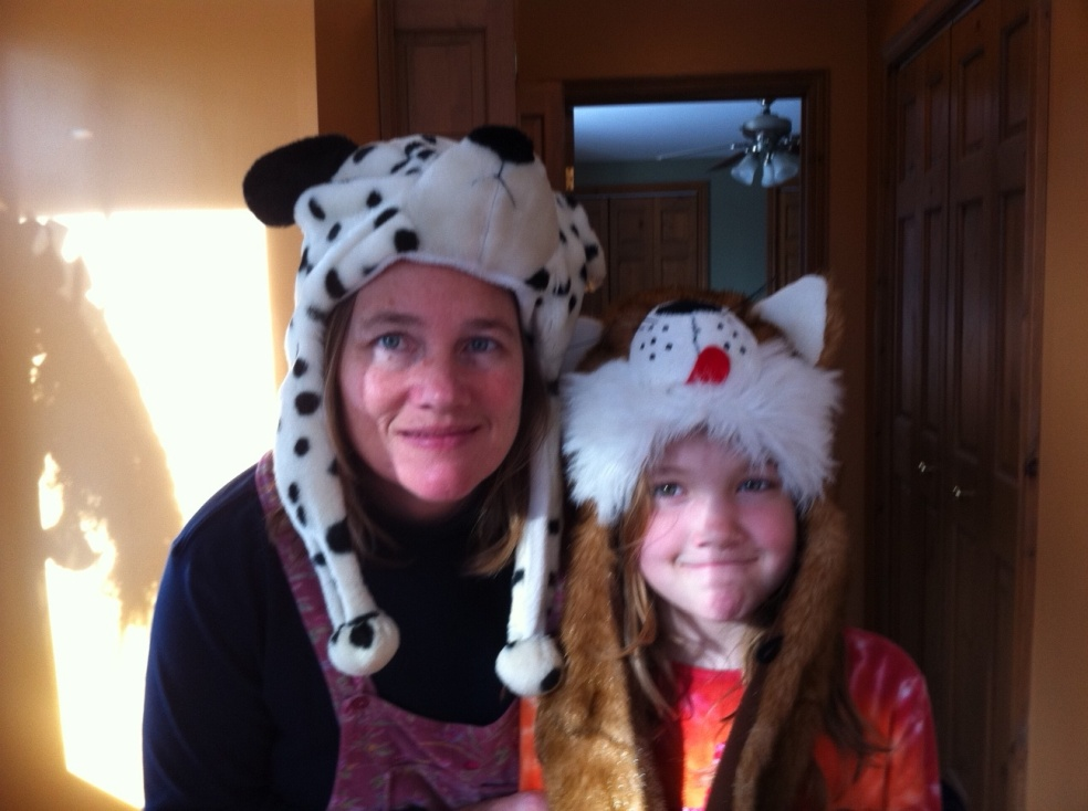mother and daughter in animal hats