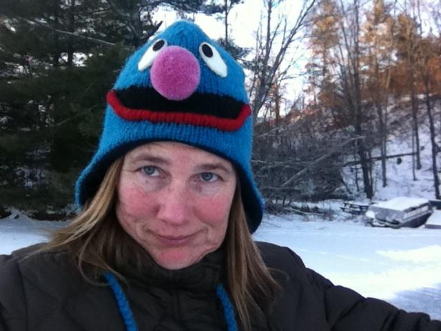 Woman in Elmo hat