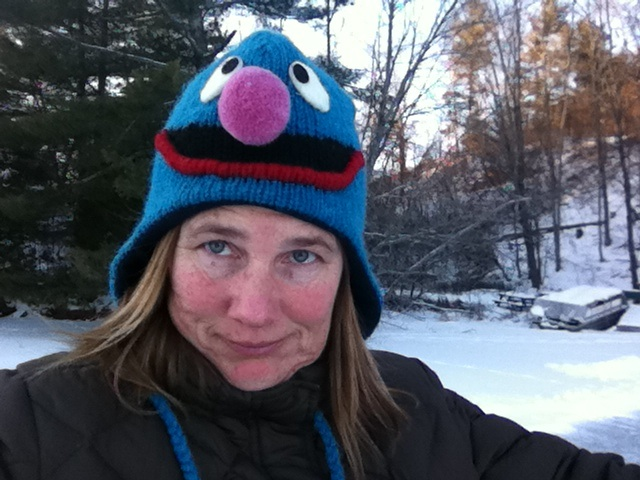 Woman in Elmo hat