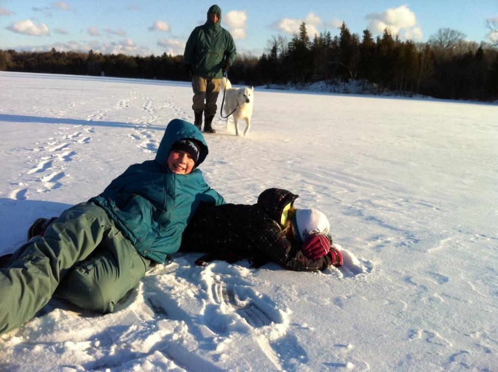 people and dog walking on frozen lake