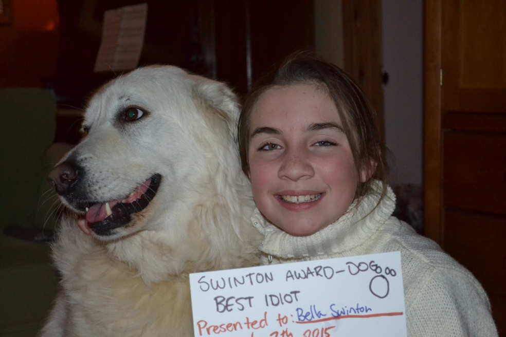 Dog with award