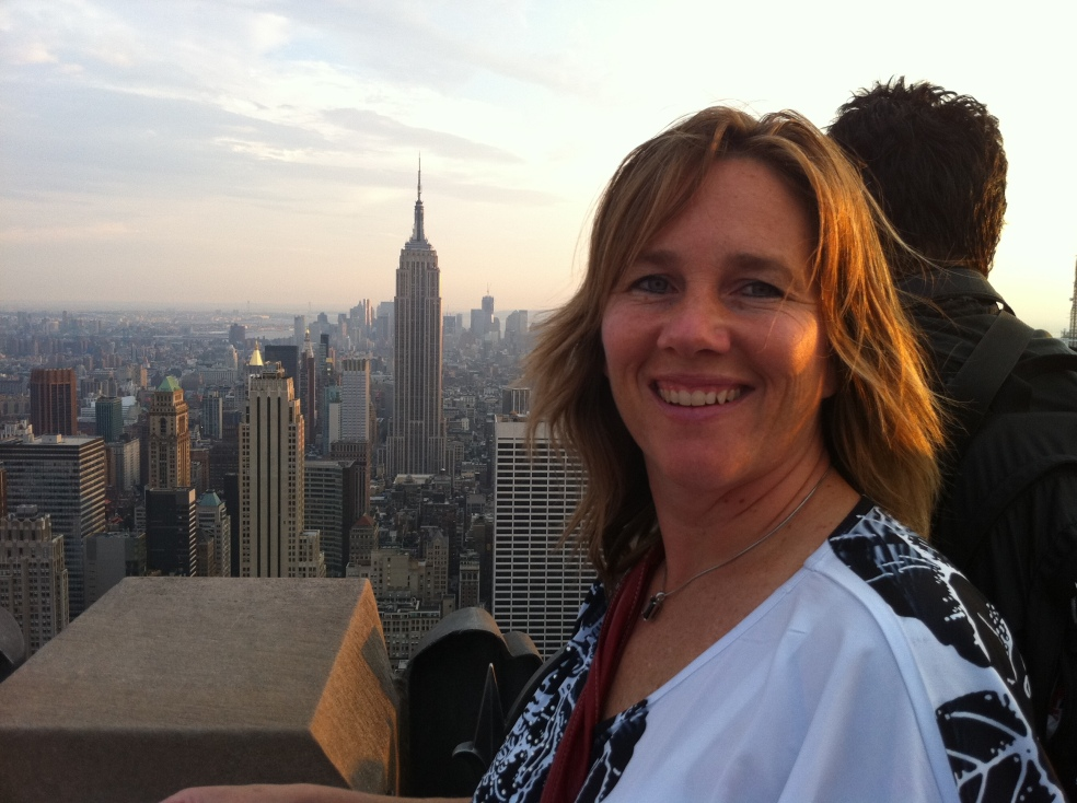 Woman in front of New York skyline