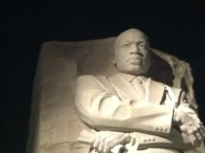 Martin Luther King memorial in Washington, DC at night