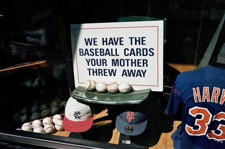 Sign that says we have the baseball cards your mother threw away