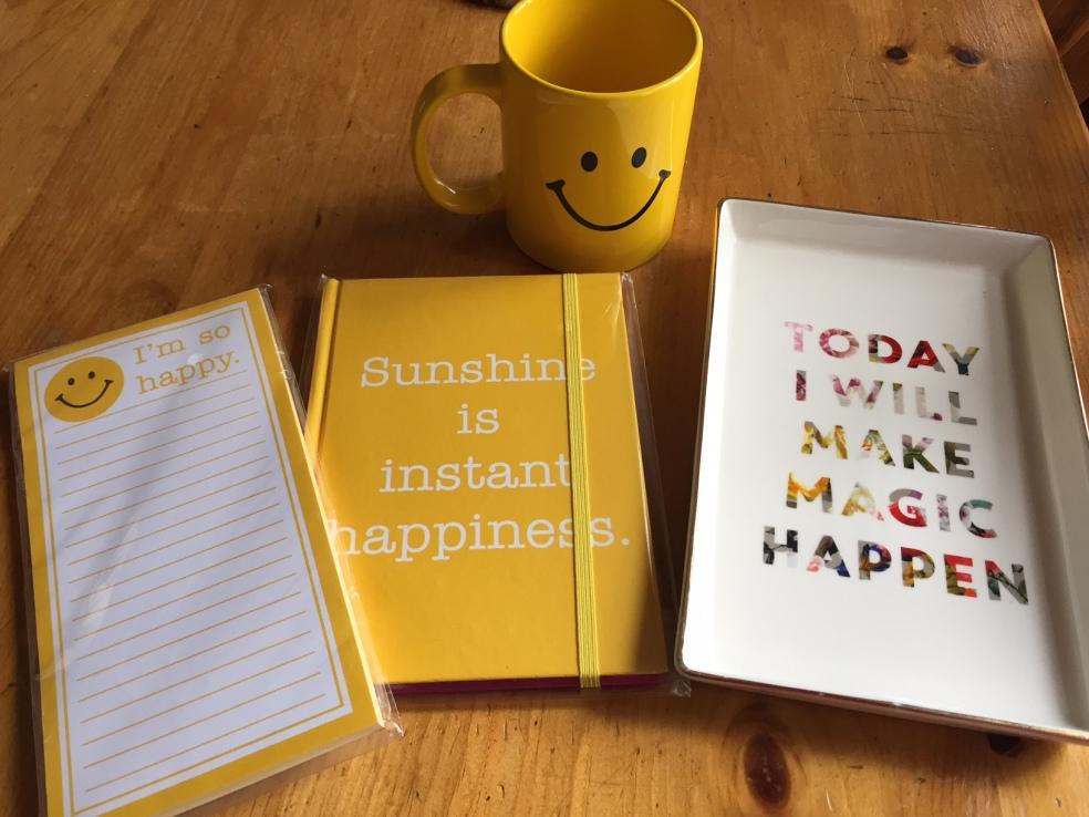 mug, notebook, platter
