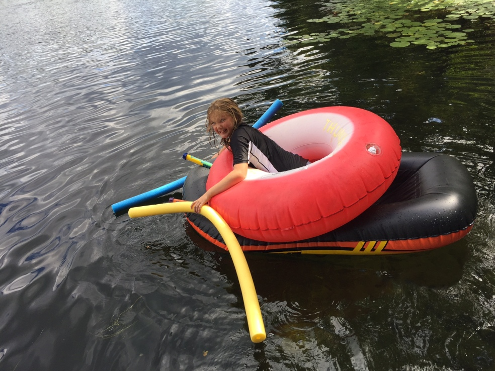 Girl on a floating raft