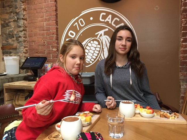 kids eating chocolate treats
