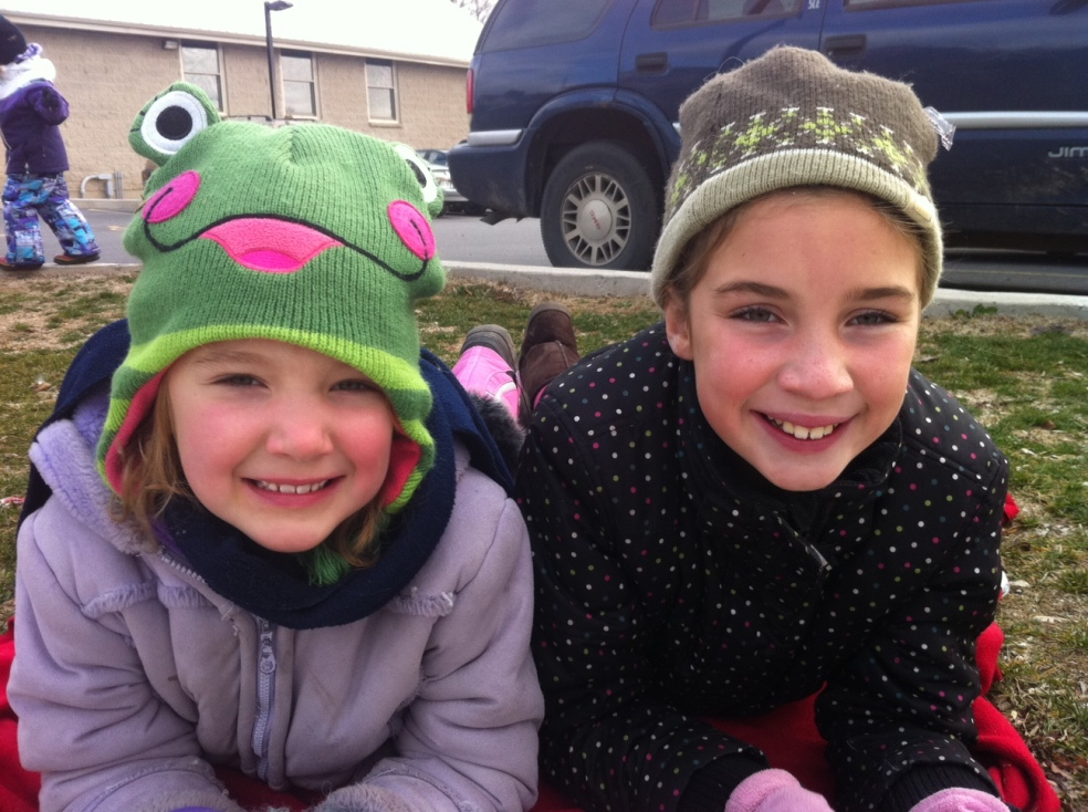 Girls at a Santa Claus parade