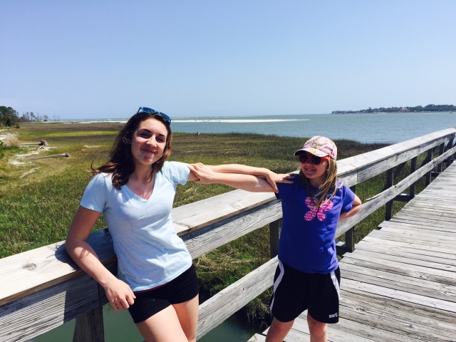 The author's daughters on a boardwalk