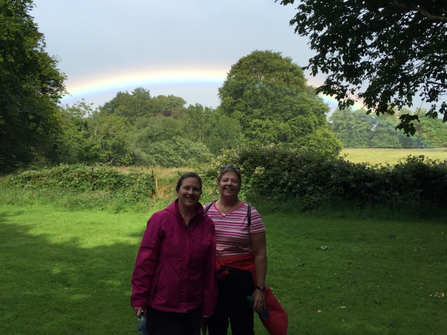 Two women and a rainbow