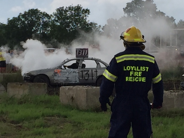 fire crew at demolition derby on stand by