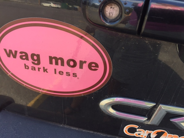 Bumper sticker that says wag more, bark less