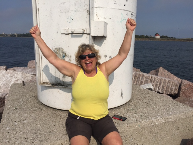 Woman at lighthouse