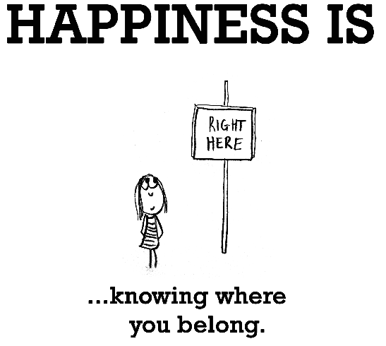 sign that says happiness is knowing where you belong
