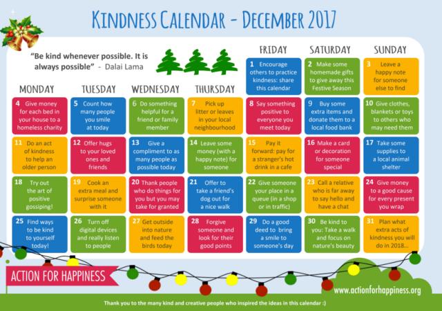December calendar of kindness