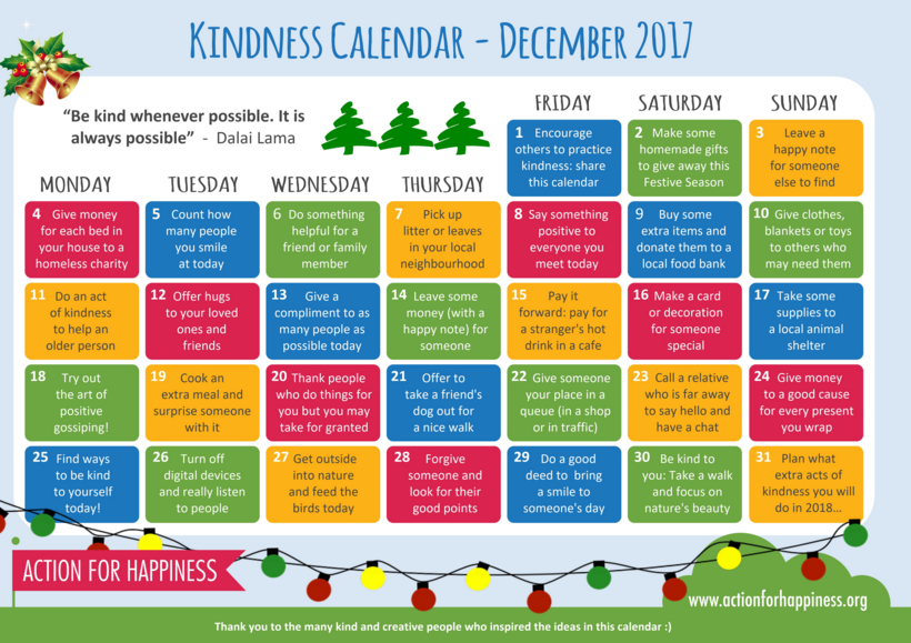 December calendar of kindness