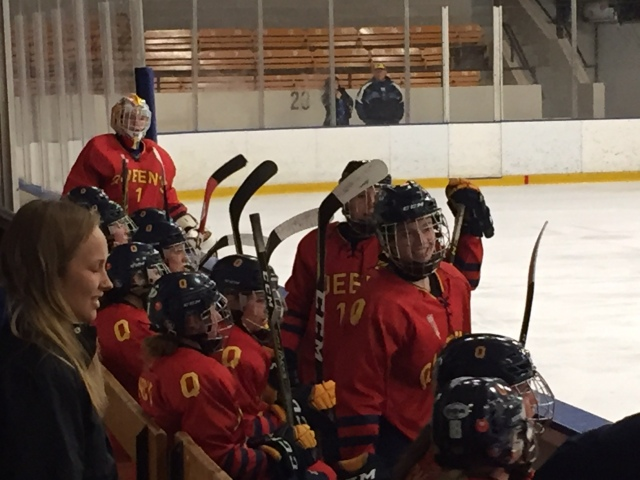 Queen's hockey bench