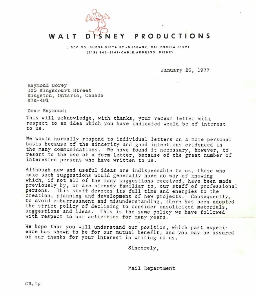 Rejection letter from Walt Disney corporation