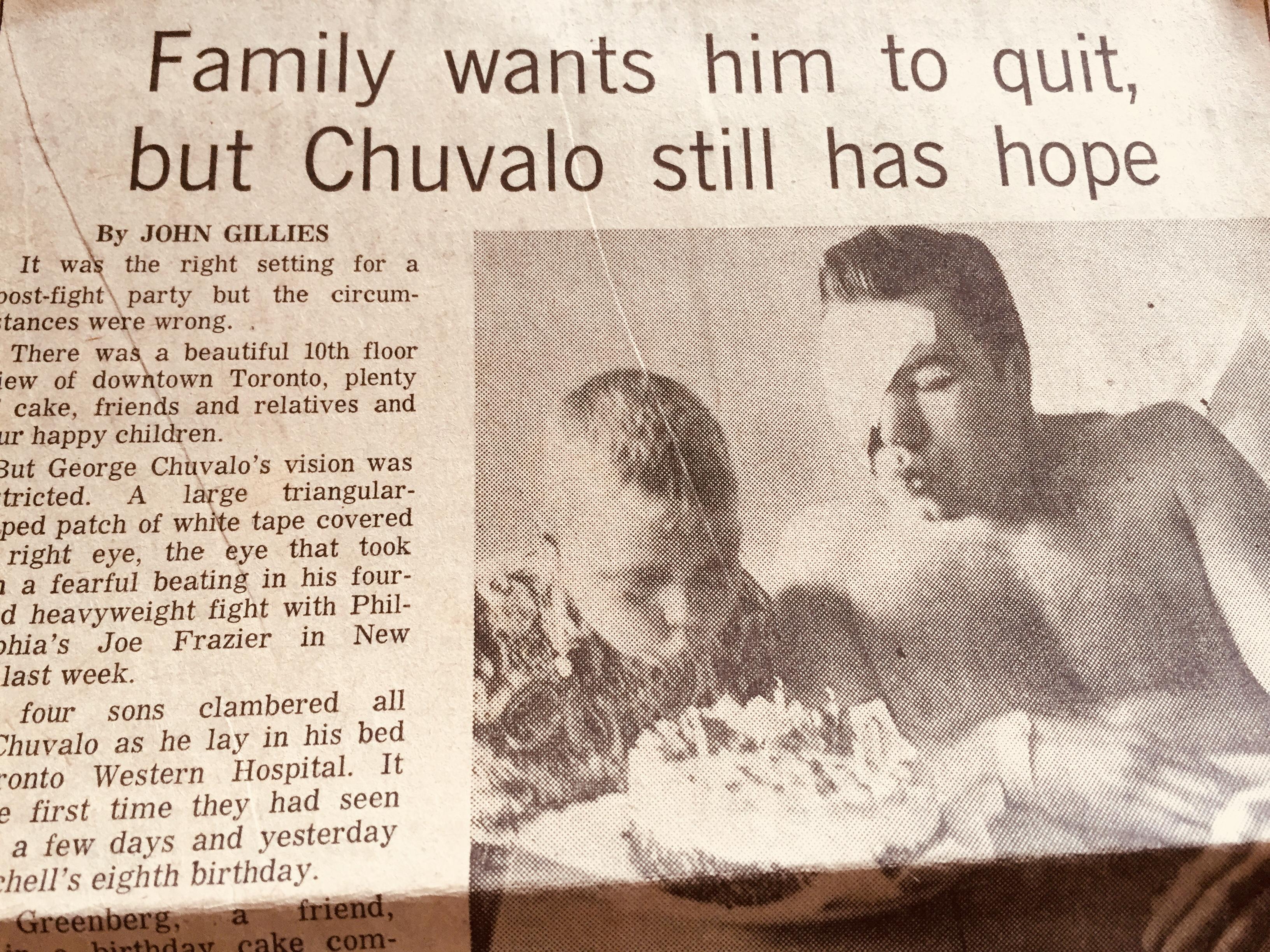 George Chuvalo newspaper photo
