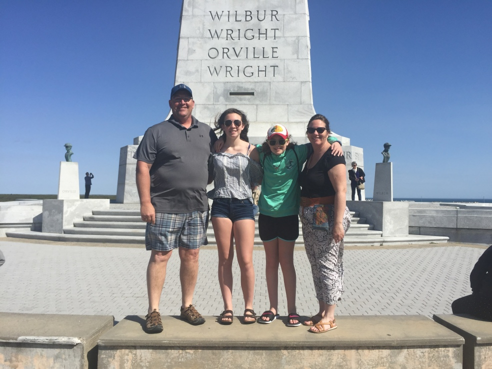 Family at Kitty Hawk Memorial