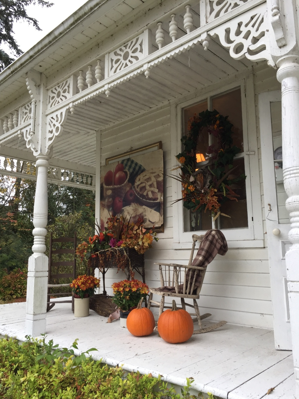 porch with fall decorations