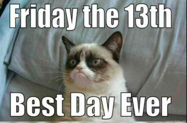 Grumpy cat meme Friday the 13th best day ever