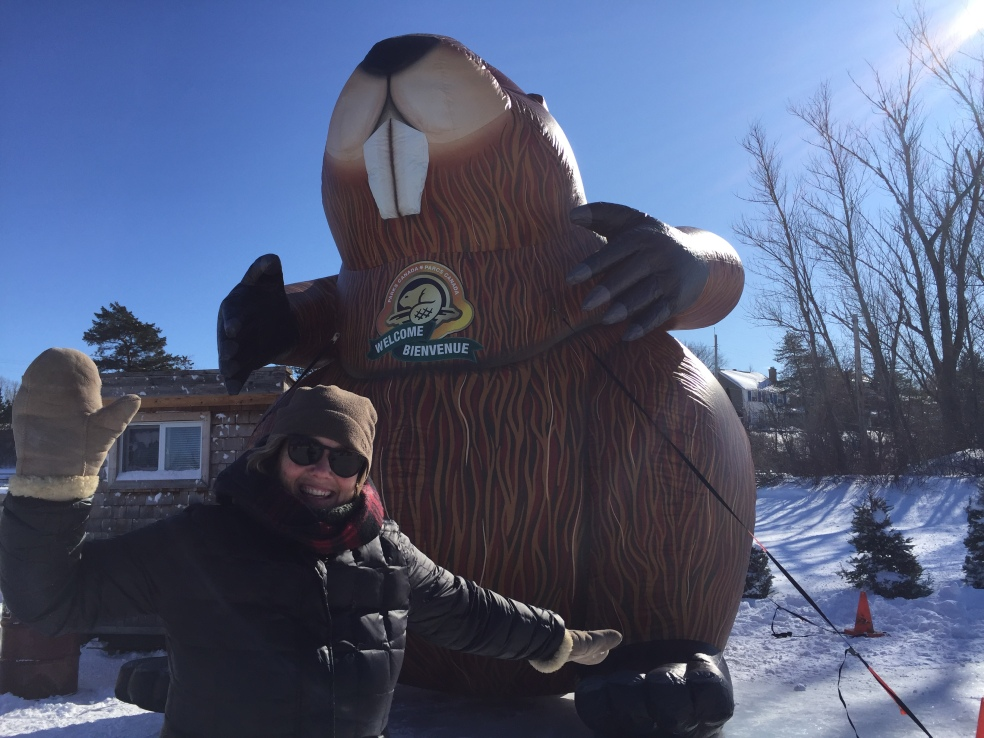 Me skating in front of a big beaver