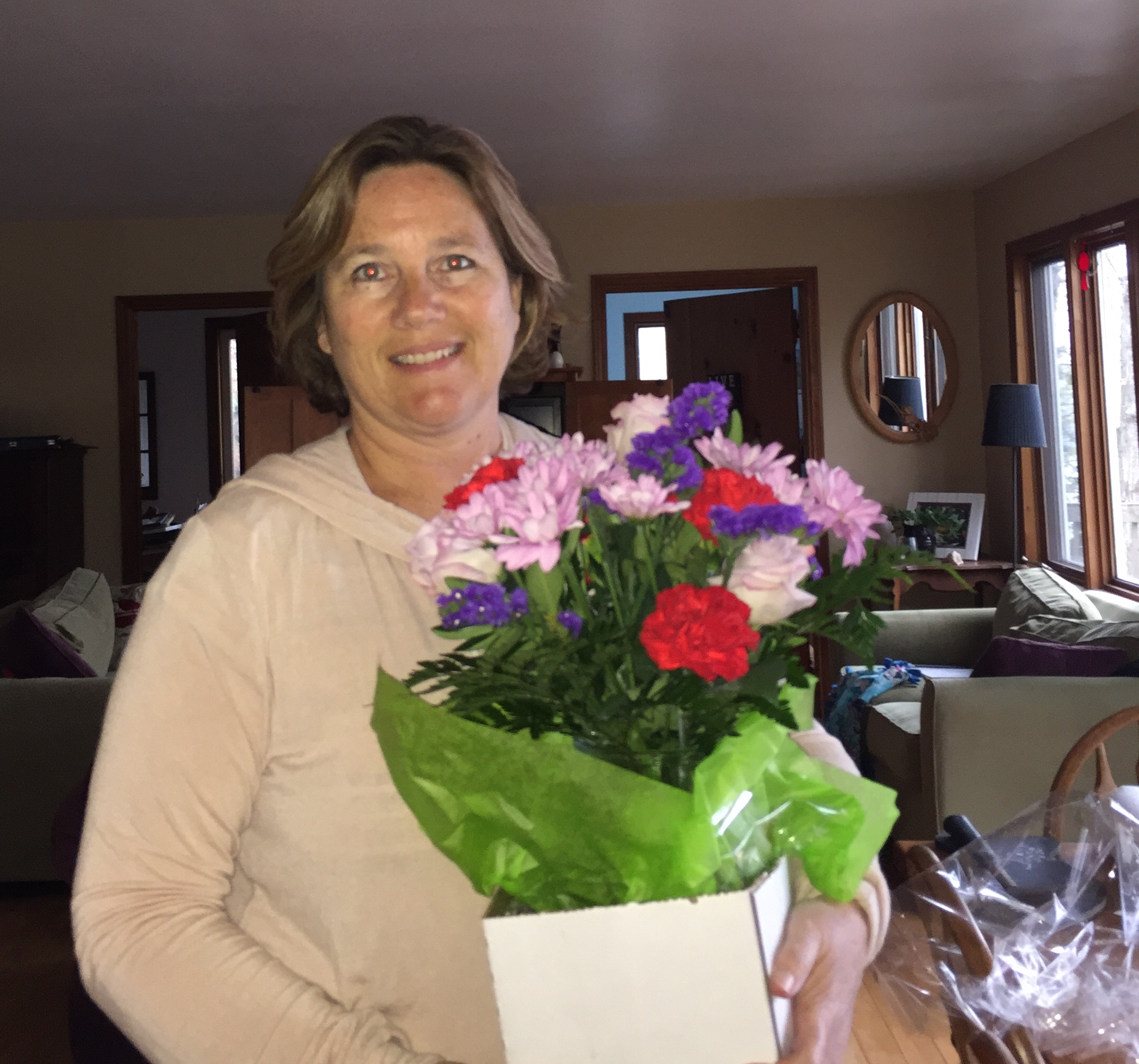 author with flowers