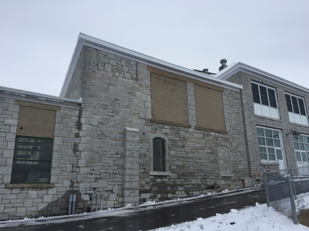 Abandoned limestone building