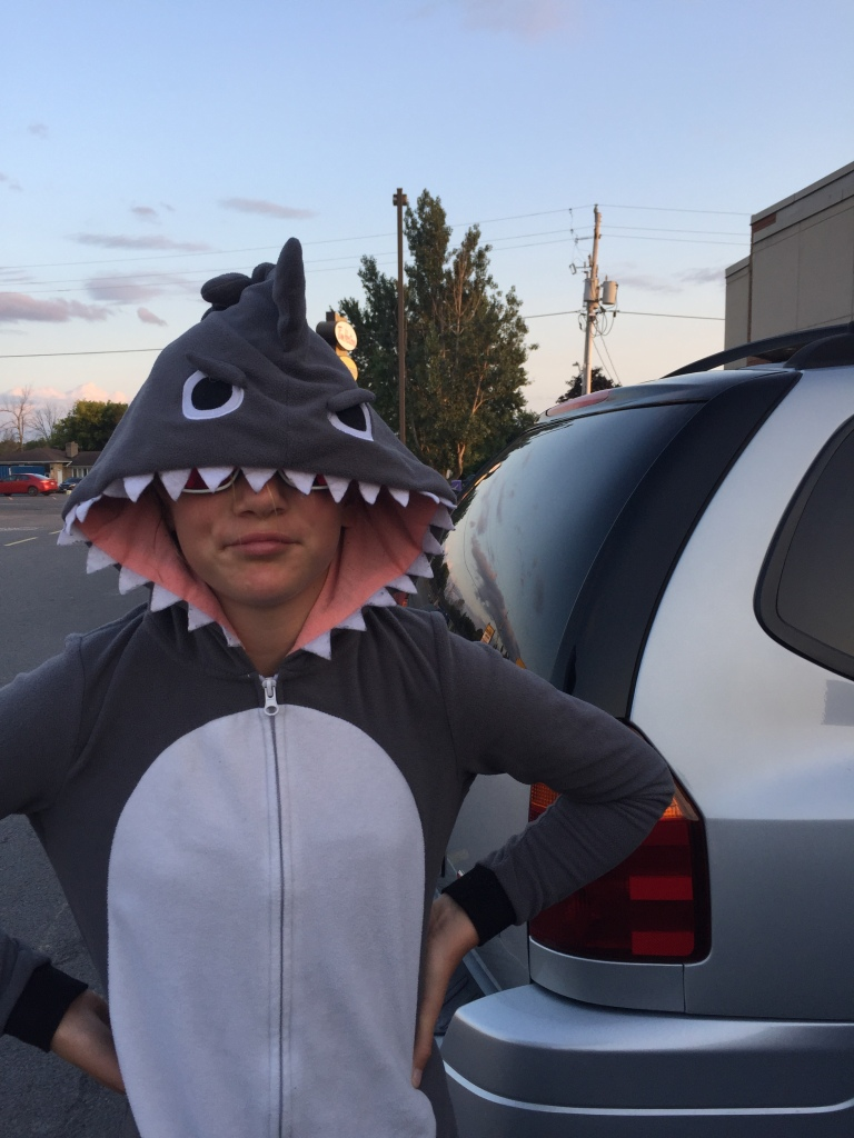 Child in shark costume with sunglasses on