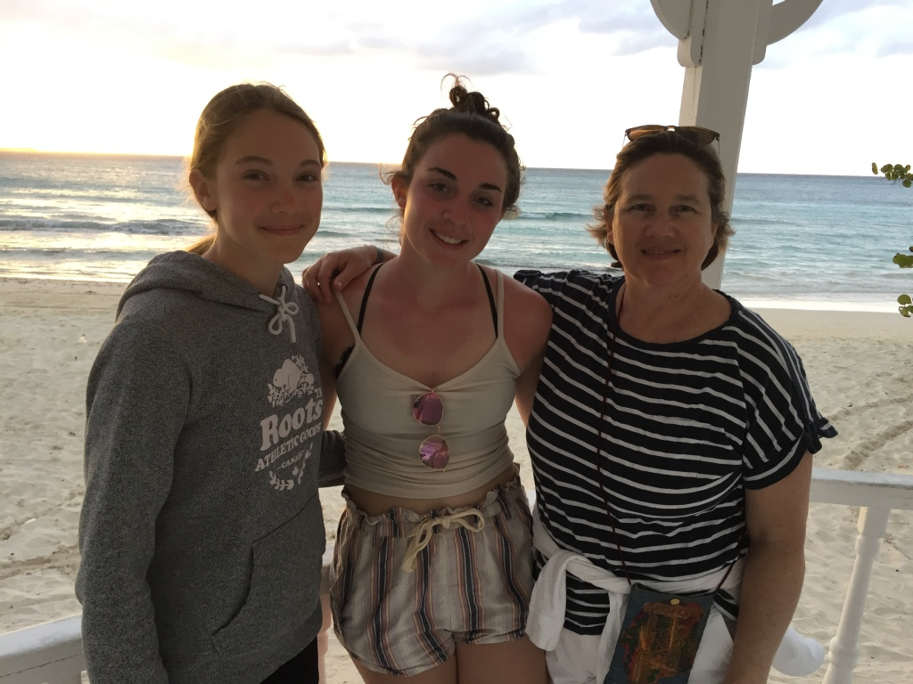 Author with her daughters on the beach