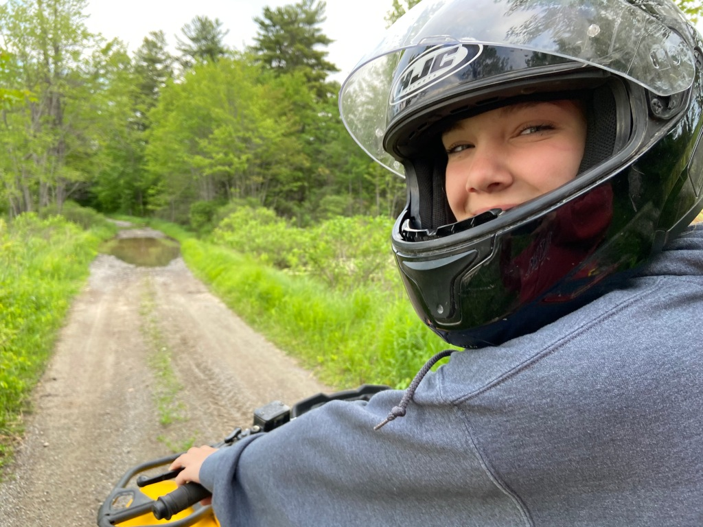 My daughter Clare on our ATV