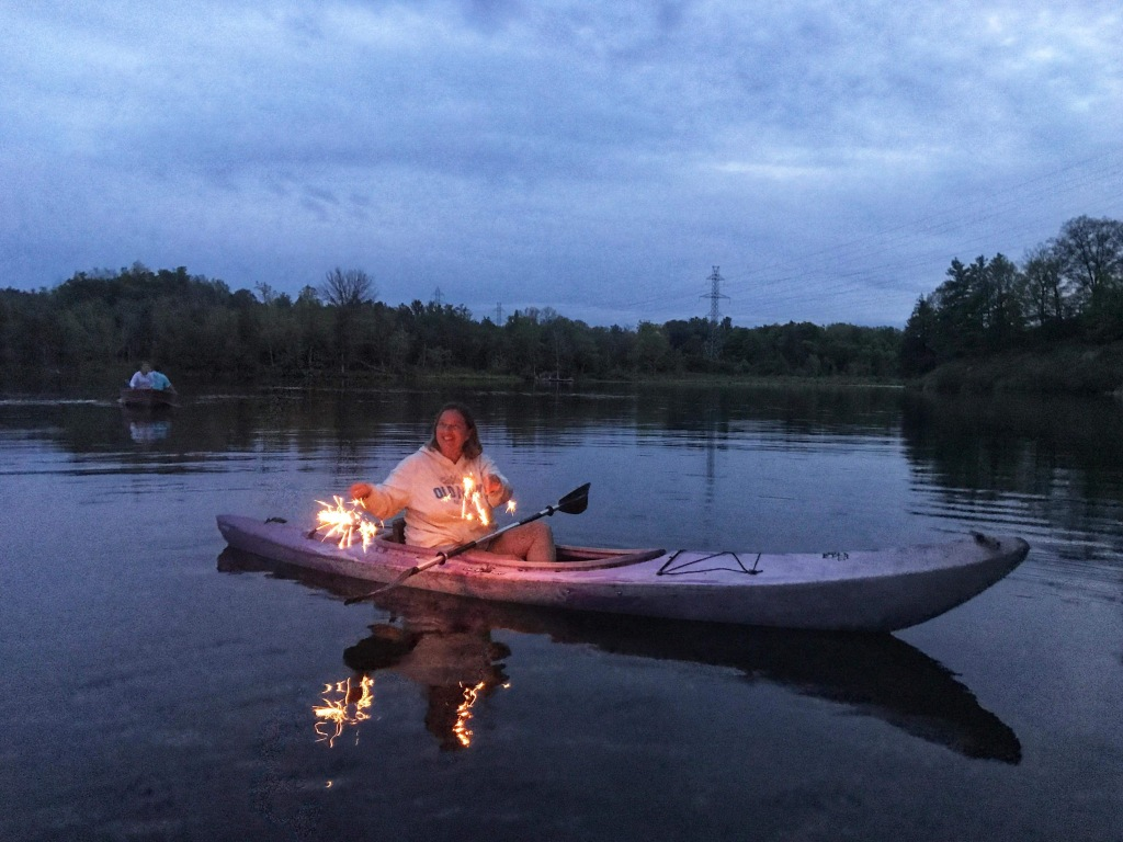 Me in my kayak with sparklers