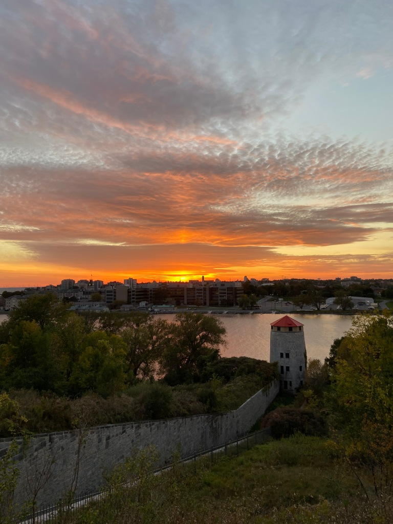 Martello tower and downtown Kingston at sunset