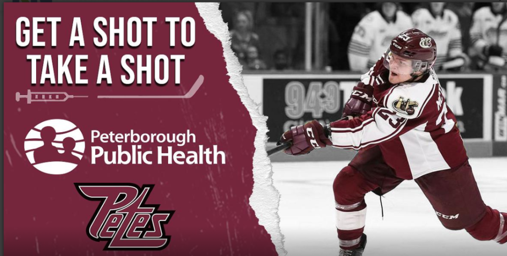 Poster of Peterborough Public Health Unit marketing campaign, Get a Shot to Take a Shot